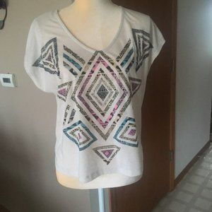 Self Esteem Blouse/ Shirt Tan, Sz S, back design